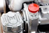 foto of lube  - Close up of cap screw on the engine - JPG