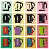 picture of kettling  - Electric kettles on a colored background - JPG