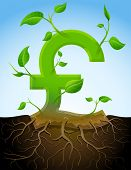 pic of bine  - Stylized plant in shape of pound sign in ground - JPG