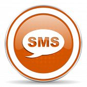 picture of sms  - sms orange icon message sign  - JPG