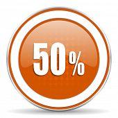 foto of 50s  - 50 percent orange icon sale sign - JPG