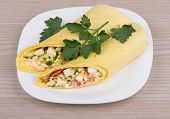 picture of shawarma  - Shawarma with chicken and parsley in white plate on wooden table - JPG