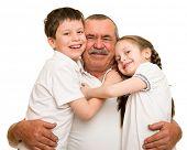 picture of grandfather  - Grandfather and grandchildren portrait studio shoot - JPG