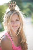 stock photo of princess crown  - Summer princess wearing crown - JPG