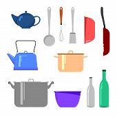picture of kettling  - Set of kitchen appliances including bottles - JPG