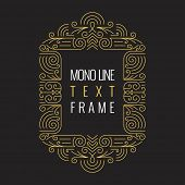 image of monogram  - Vector Mono Line style Geometric Frame Template for Text - JPG