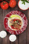 stock photo of pita  - Souvlaki or kebab - JPG
