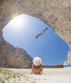 stock photo of shipwreck  - The famous Navagio Shipwreck beach in Zakynthos island Greece - JPG