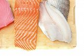 stock photo of saltwater fish  - raw set of sea fish food  - JPG