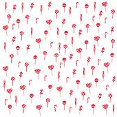 picture of lollipops  - pattern of a variety of striped lollipops in a red white - JPG