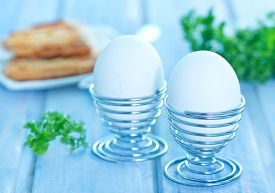picture of boil  - boiled eggs for the breakfast on a table - JPG
