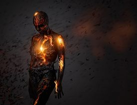 image of creatures  - Creature made from lava and fire  - JPG