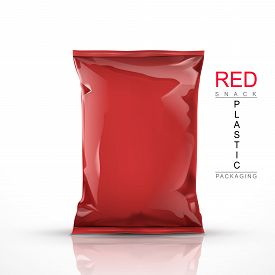 pic of packages  - red snack plastic packaging isolated on white background - JPG