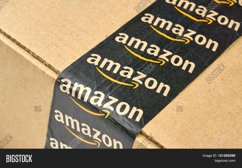 amazon shipping box branded tape image photo bigstock. Black Bedroom Furniture Sets. Home Design Ideas