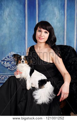 portrait of  lady with a dog