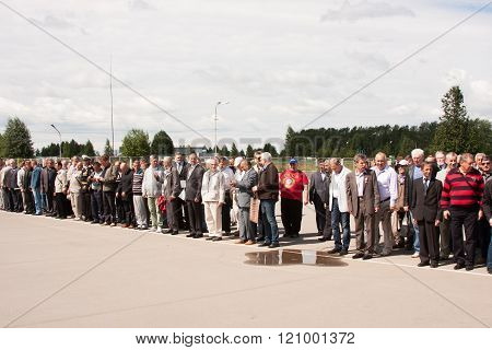 Perm, Russia, July 04.2015:people On Grand Welcome Of Veterans