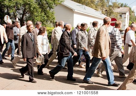 Perm, Russia, July 04.2015:people Go At A Meeting Of Veterans