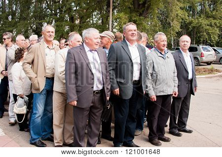 Perm, Russia, July 04.2015:people At A Meeting Of Veterans