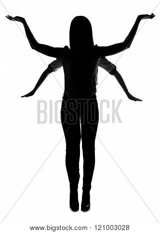Silhouette of multi-armed woman