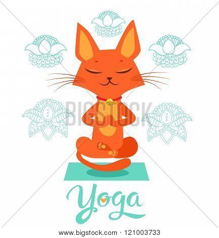 poster of Yoga Cat Pose. Yoga Cat Vector. Yoga Cat Meme. Yoga Cat Images. Yoga Cat Position. Yoga Cat Figurine. Cat Costume. Cat As Toy. Yoga Cat Statue. Yoga Cat Balance. Vector Cat. Cartoon Cat. Meditation.