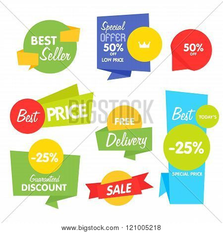 Sale sticker. Discount sticker. Vector sale sticker. Isolated sticker. Sale sticker on white background. Sale sticker, exclusive product sticker, special offer in origami style. Sale sticker set. Sale badge. Special sale badge for goods. Discount tag. Tag