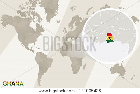 Zoom On Ghana Map And Flag. World Map.