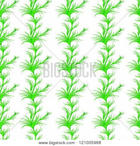 Stylized Watercolor Seamless Pattern With Sprigs Of Greenery, Dill Or Fennel. Vector Hand Drawn Flow
