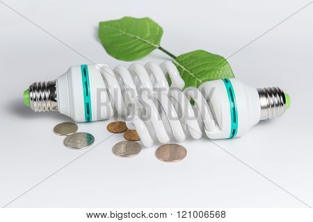 Energy Saving Lamp And Coins