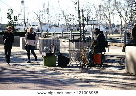 Busker at Navy Pier