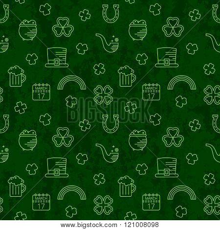 Abstract green seamless line art grunge pattern.