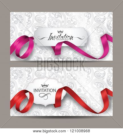 Beautiful invitation cards with red and pink silk ribbons and floral background