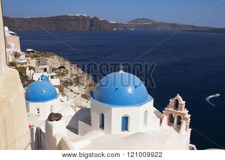 Church Domes On Santorini