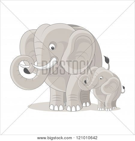 Cute Elephant Family, cute elephant cartoon, smiling elephant