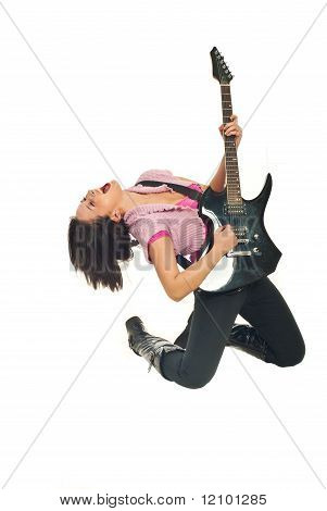 Rock Girl With Guitar Singing