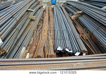 SEPANG, MALAYSIA - APRIL 08, 2015: Steel reinforcement bar at the bar bending yard in the construction site.
