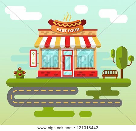 Fast food building on the street