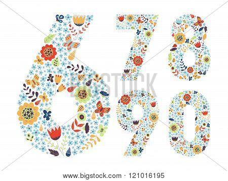 Cute Floral Vintage Numbers Set