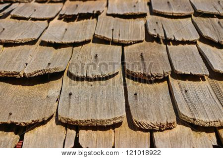 Close up of wooden roof background Textured