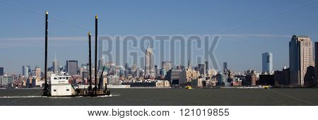 Midtown Manhattan Skyline With Katherine G Tug