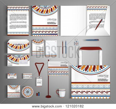 Corporate Identity Set With With  Ethno Pattern.