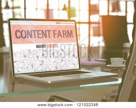 Laptop Screen with Content Farm Concept.