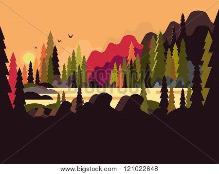 Landscape forest flat design