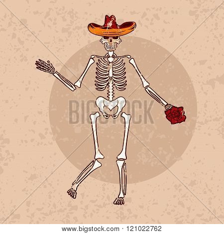 Dancing Skeleton In Sombrero With Flower Grunge Vector Illustration
