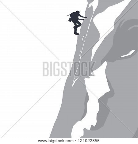 mountain peak hiker adventurer theme vector art illustration