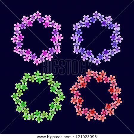 Set of floral frames 4 seasons