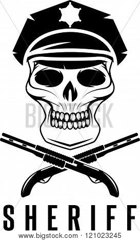 Sheriff Skull In Cap And Shotguns Vector Design Template