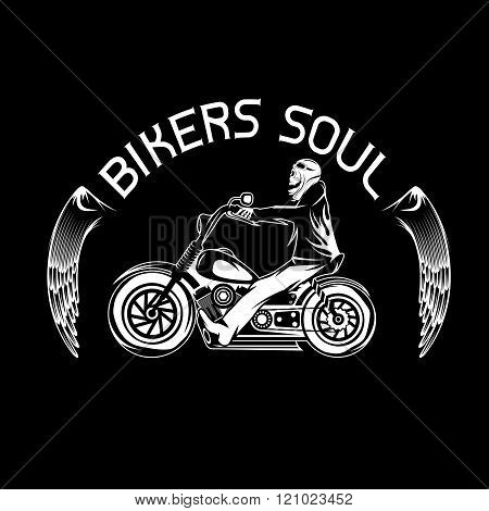 Bikers Theme Label With Skeleton On Motorbike