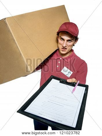 Unkind courier delivering parcel and requires subscribe.