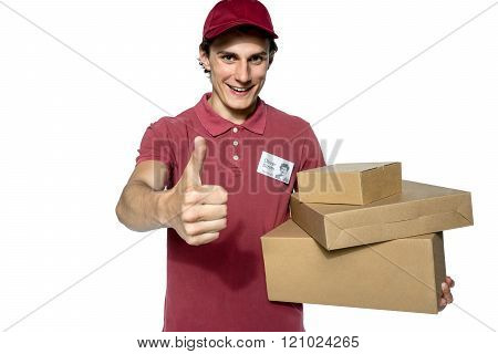 Deliveryman carrying a parcel box.
