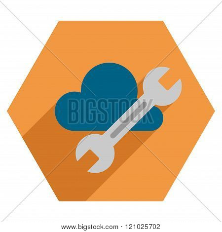 Cloud Tools Flat Hexagon Icon With Long Shadow